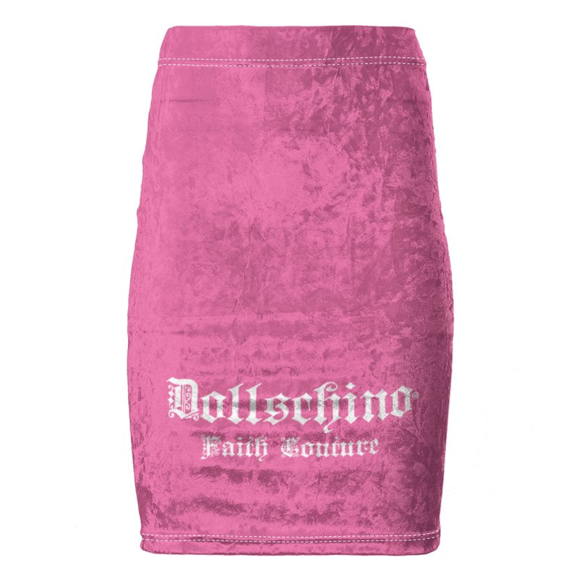 Dollschino Faith Couture Bubblegum Pink Velour Pencil Skirt