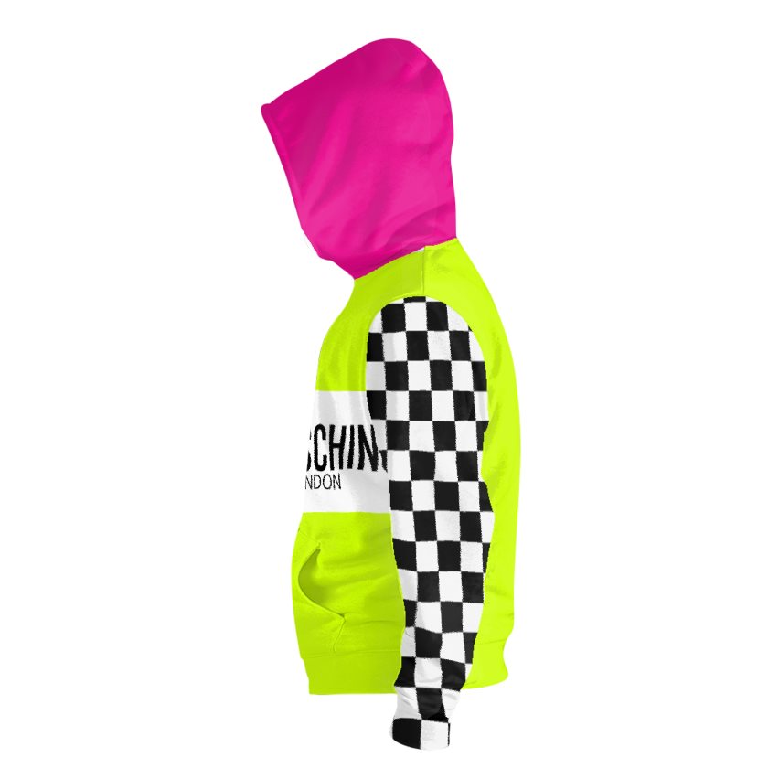 Dollschino London Fluorescent Neon Yellow & Black N White Checkered Zip Hoodie