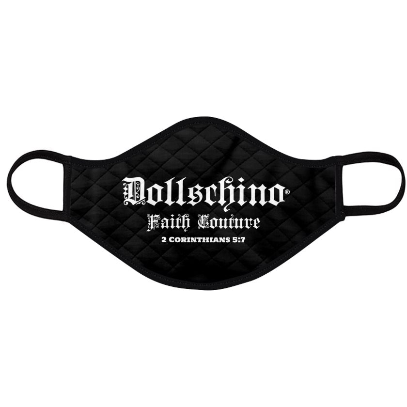 Dollschino London Faith Couture Black Padded Face Mask