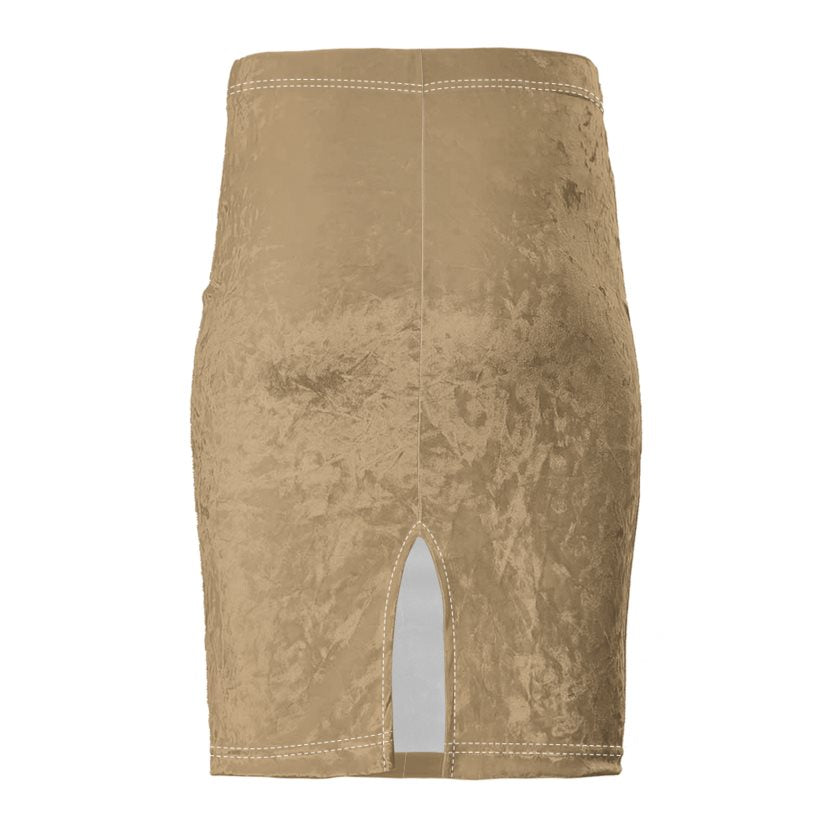 Dollschino Faith Couture Nude Caramel Velour Pencil Skirt