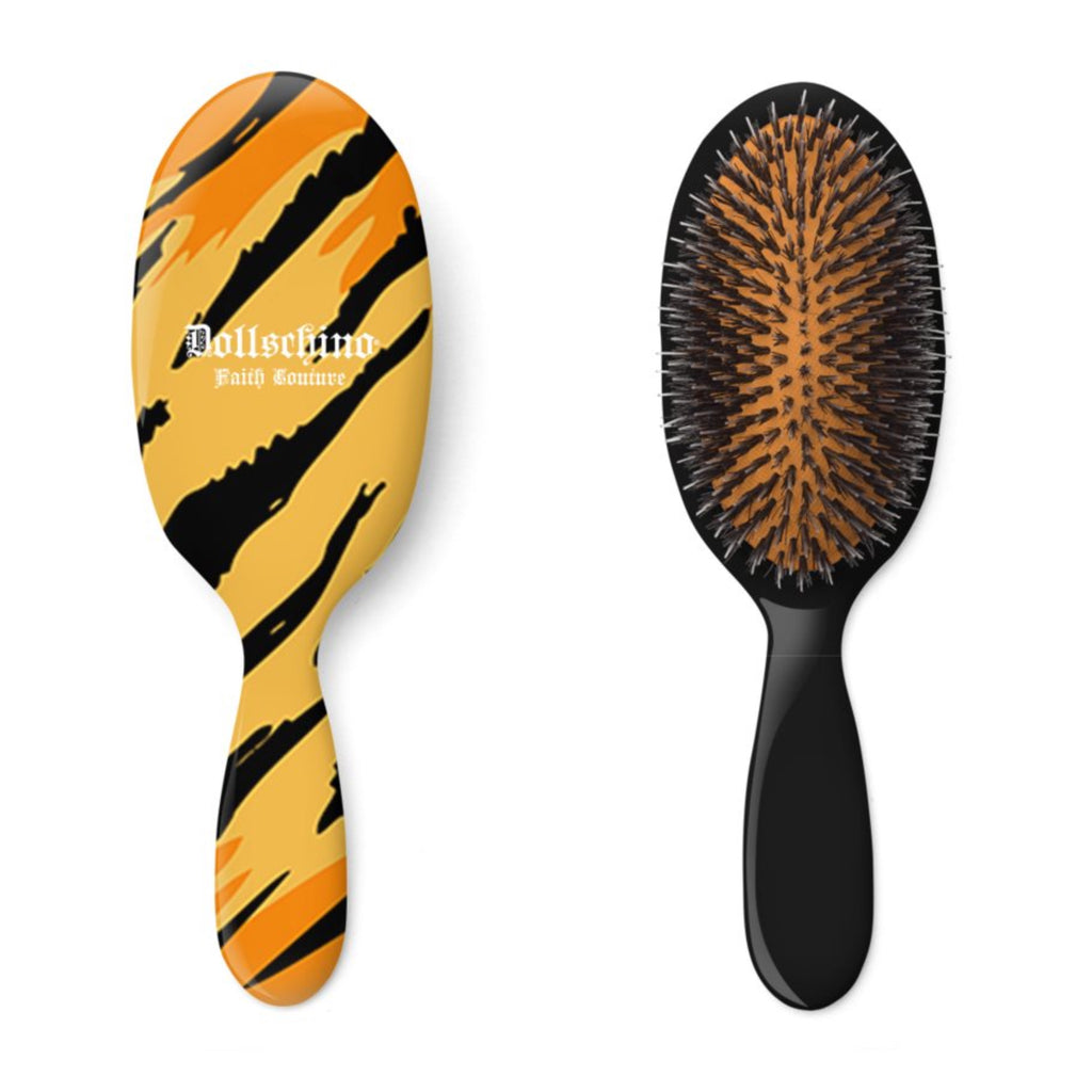 Dollschino London Faith Couture Black & Tiger Hairbrush
