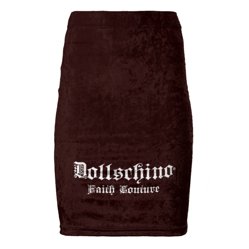 Dollschino Faith Couture Chocolate Mahogany Velour Pencil Skirt