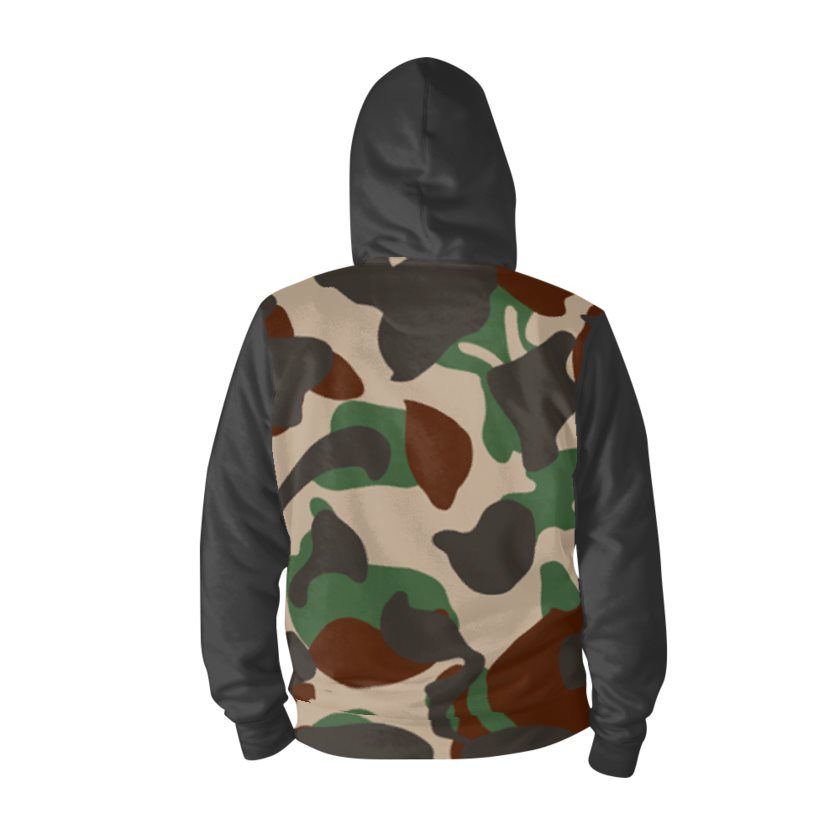Dollschino London Men's Camo & Off Black Zip Hoodie
