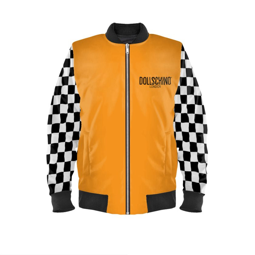 Dollschino London Orange & Black N White Checkered Bomber Jacket