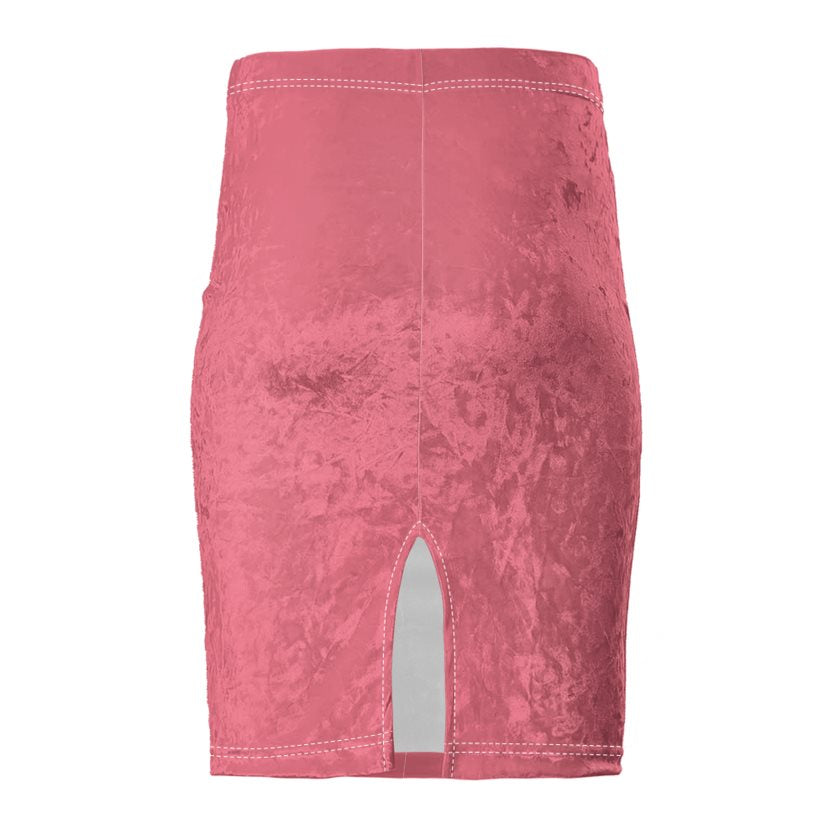 Dollschino Faith Couture Salmon Pink Velour Pencil Skirt