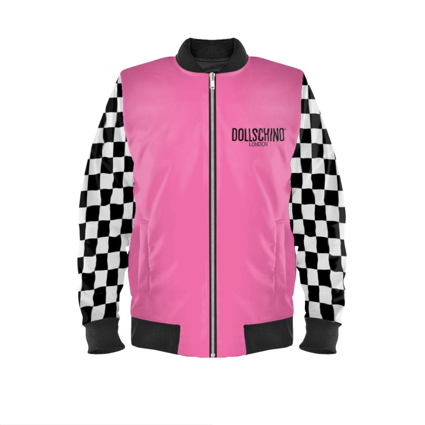 Dollschino London Bubblegum Pink & Black N White Checkered Bomber Jacket