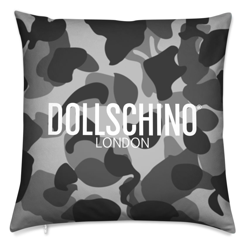 Dollschino London Charcoal Camo Cushion