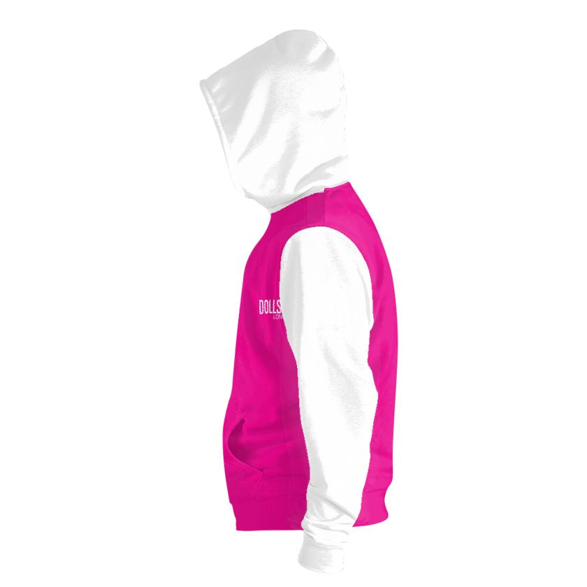 Dollschino London Hot Pink & White Zip Hoodie
