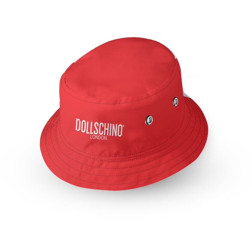 Dollschino London Red & Black Kids Reversible Bucket Hat