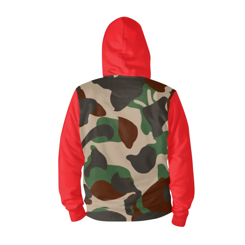 Dollschino London Men's Camo & Red Zip Hoodie