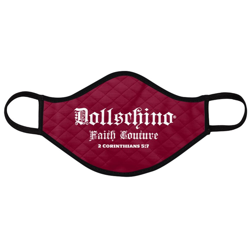 Dollschino London Faith Couture Red Plum Padded Face Mask