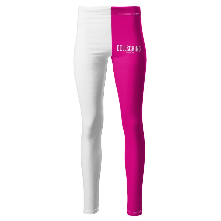 Dollschino London Hot Pink & White Ponte Jersey Leggings