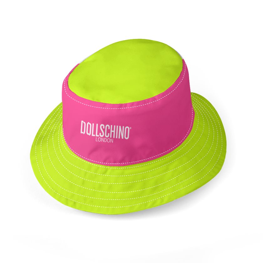 Dollschino London Fluorescent Neon Yellow & Neon Pink Reversible Bucket Hat