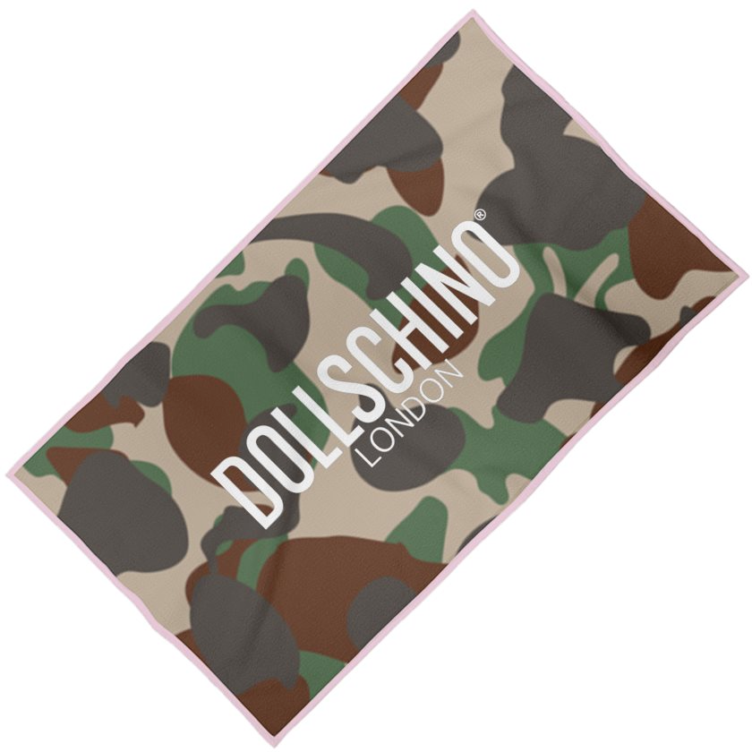 Dollschino London Camo & Baby Pink Beach Towel