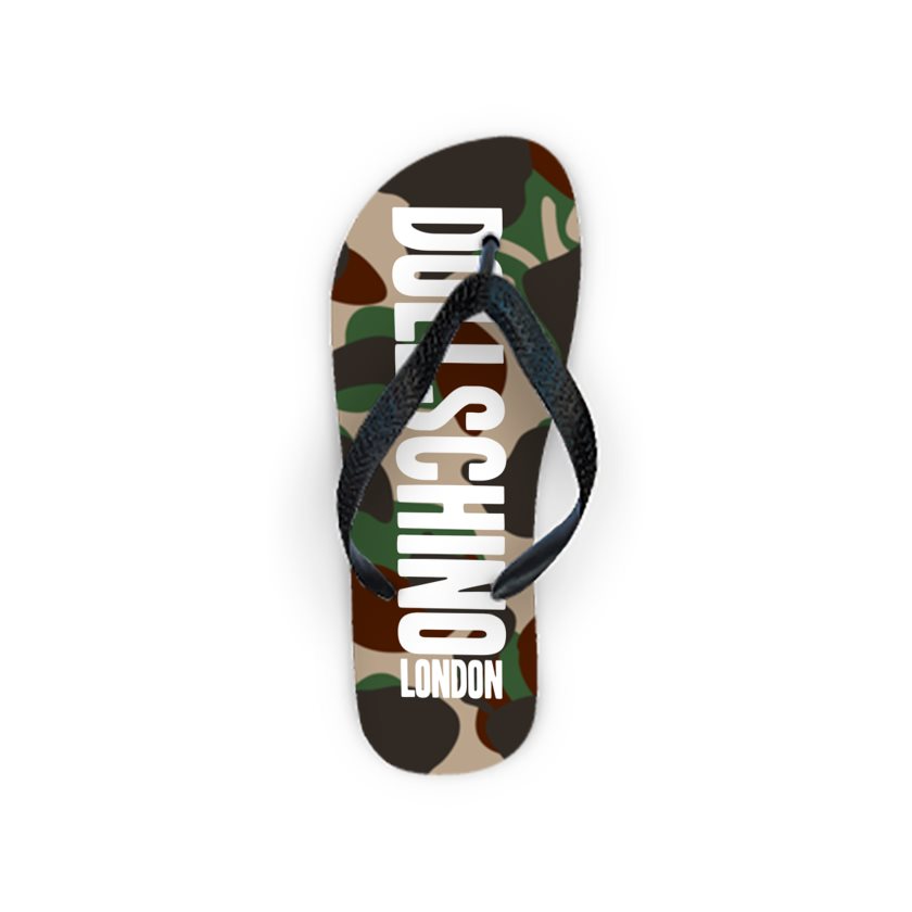 Dollschino London Camo & Baby Pink Graffiti Flip Flops