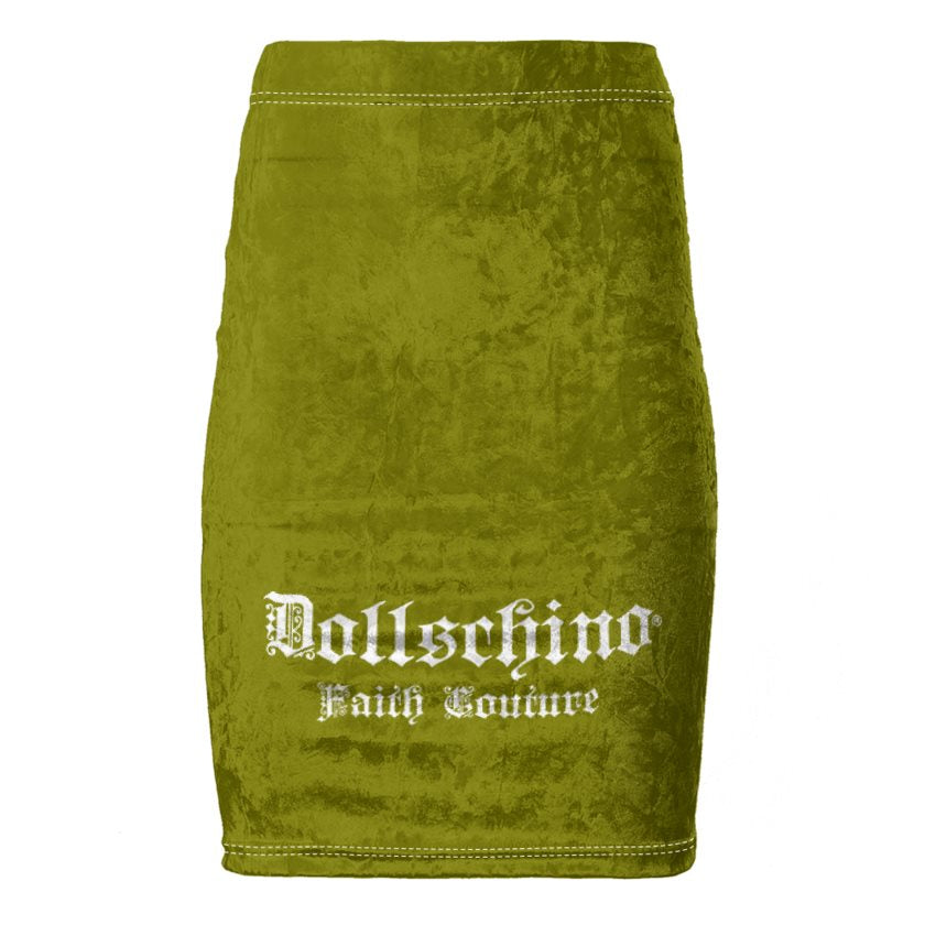 Dollschino Faith Couture Khaki Green & Coffee Brown Velour Pencil Skirt