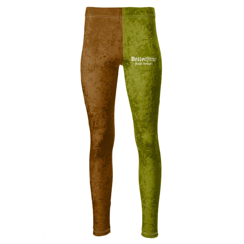 Dollschino Faith Couture Khaki Green & Coffee Brown Velour Leggings