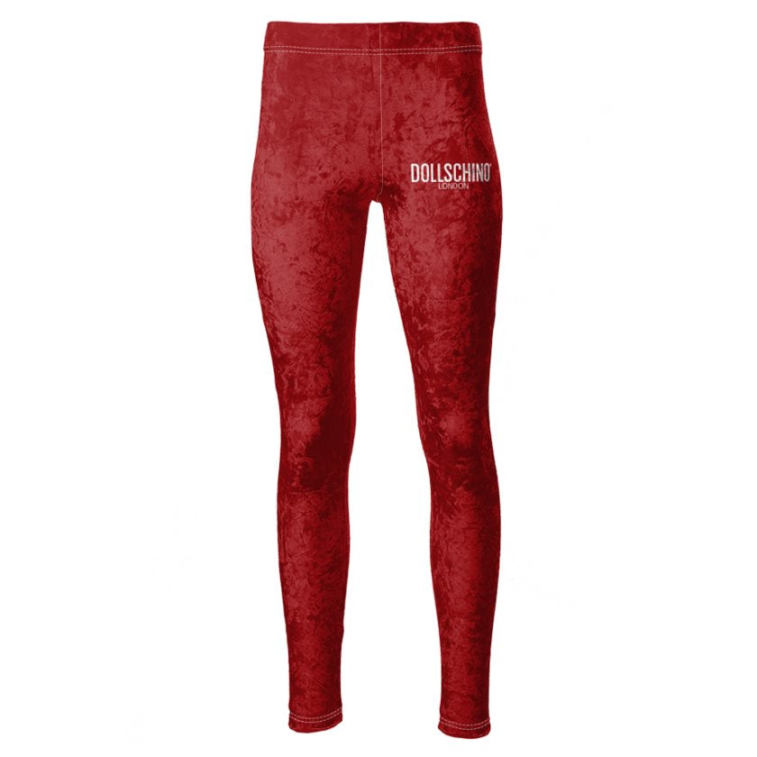 Dollschino London Rose Red Velour Leggings