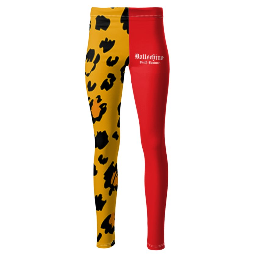 Dollschino London Faith Couture Red & Leopard Ponte Jersey Leggings