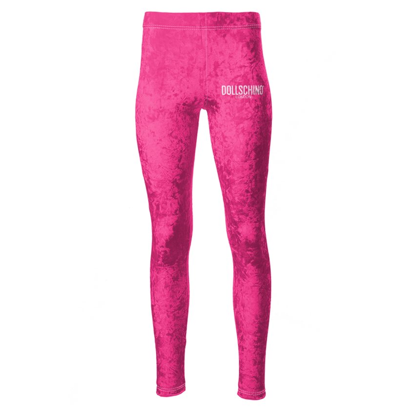 Dollschino London Neon Pink Velour Leggings