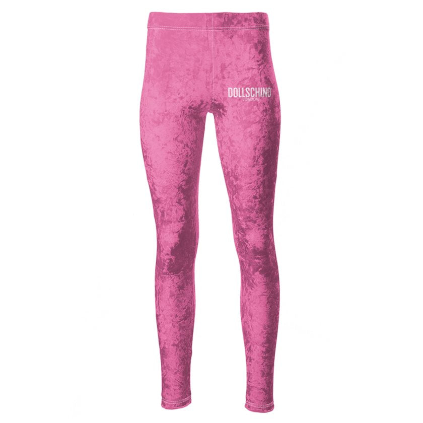Bubblegum Pink Dollschino London Velour Leggings