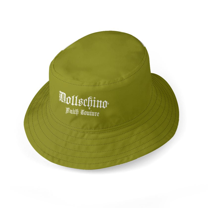Dollschino Faith Couture Khaki Green & Coffee Brown Bucket Hat