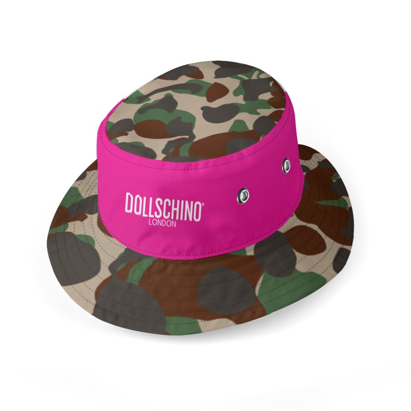 Dollschino London Hot Pink & Camo Reversible Bucket Hat