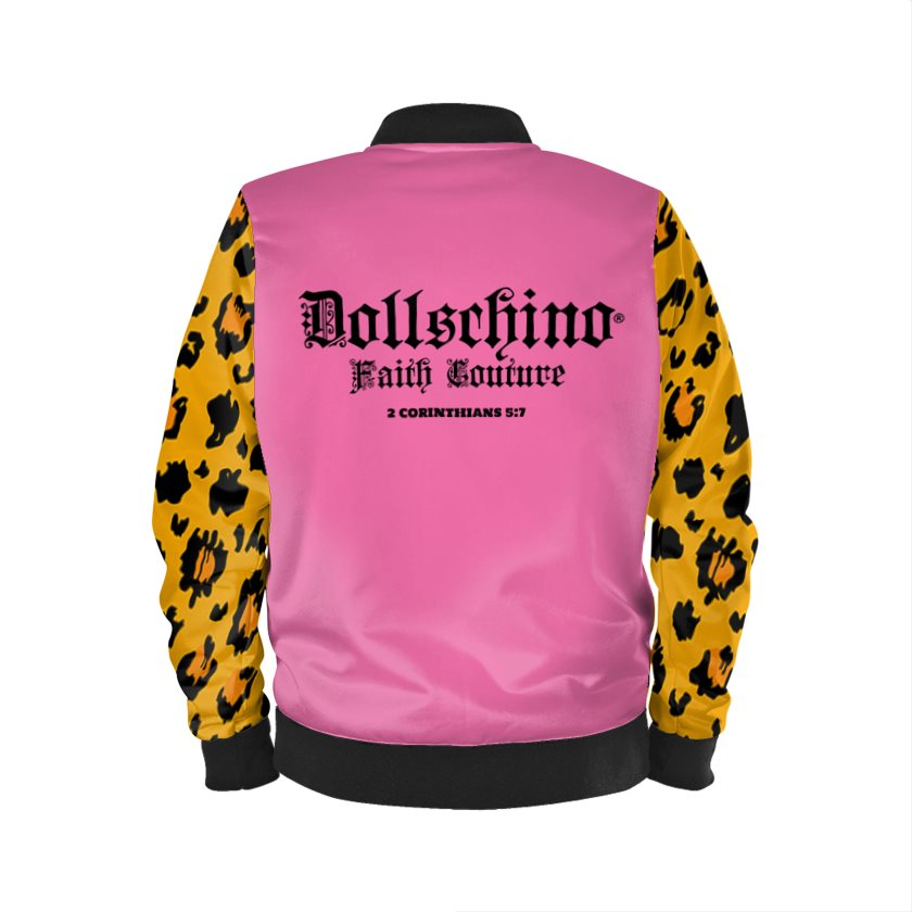 Dollschino London Faith Couture Bubblegum Pink & Leopard Bomber Jacket