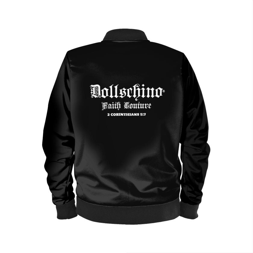Dollschino London Faith Couture Jet Black Bomber Jacket