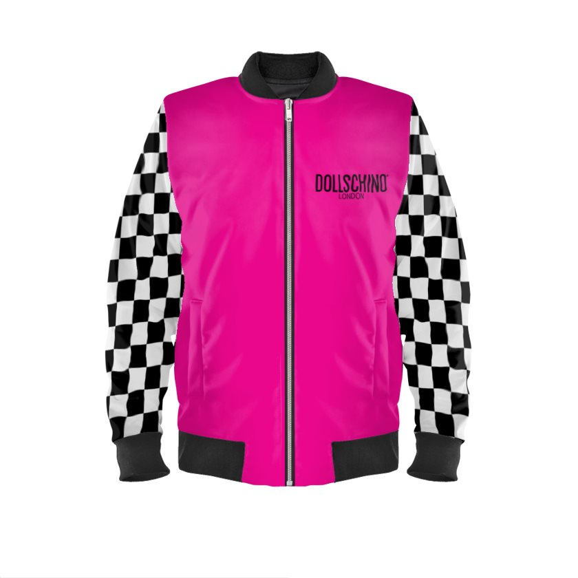 Dollschino London Hot Pink & Black N White Checkered Bomber Jacket