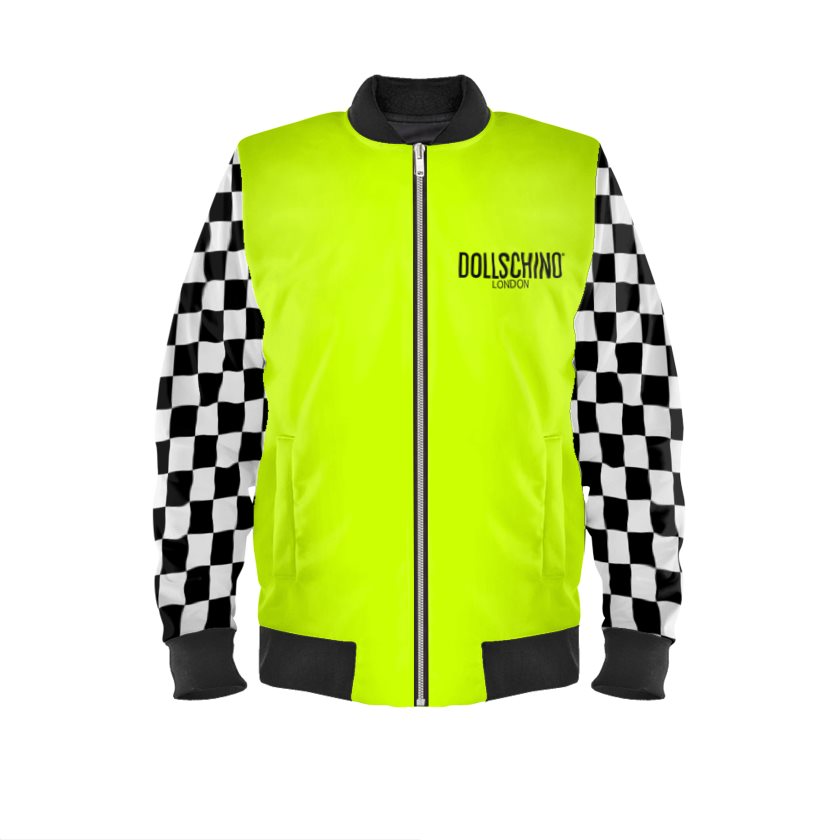 Dollschino London Fluorescent Neon Yellow & Black N White Checkered Bomber Jacket