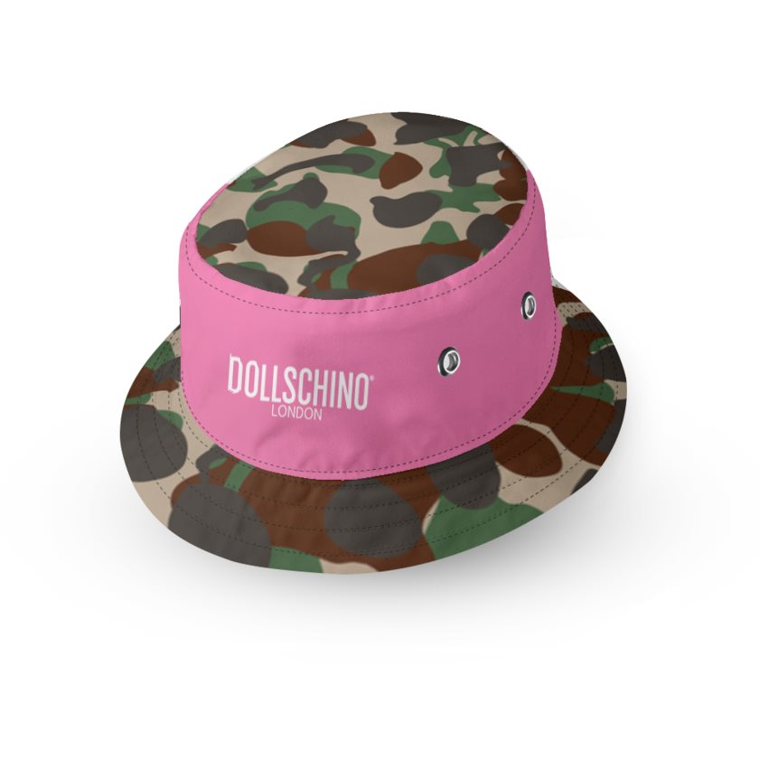 Dollschino London Bubblegum Pink & Camo Kids Reversible Bucket Hat