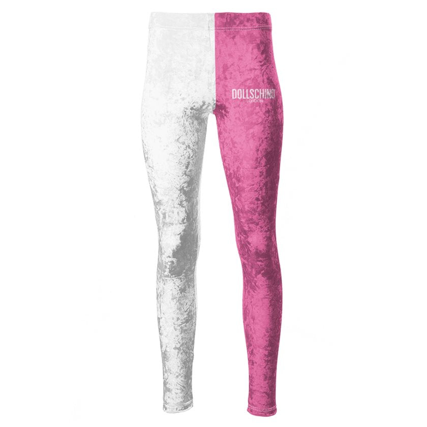 Dollschino London White Snow & Bubblegum Pink Velour Leggings