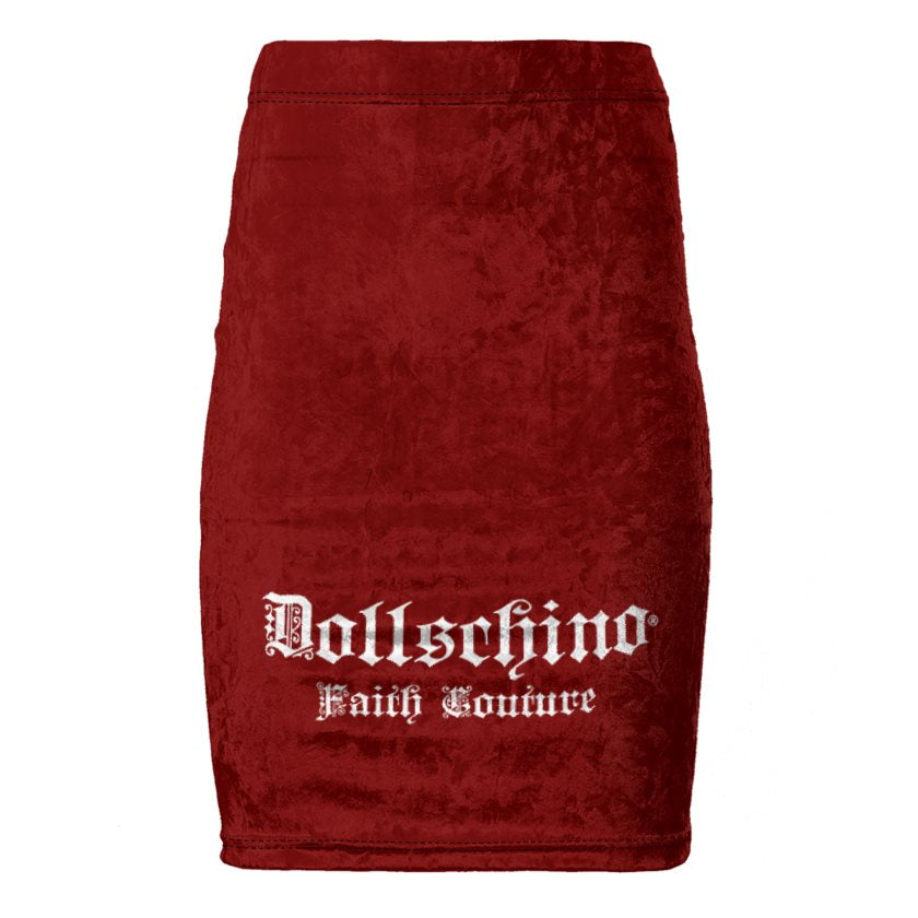 Dollschino Faith Couture Burgundy Red Velour Pencil Skirt