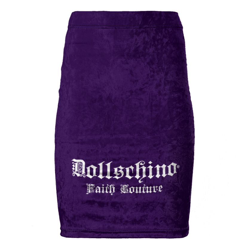 Dollschino Faith Couture Royal Purple Velour Pencil Skirt