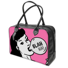 Hot Pink Comic Pop Art Leather Holdall Bag