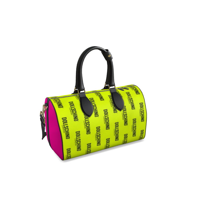 Dollschino London Neon Green Tile & Hot Pink Leather Duffle Bag