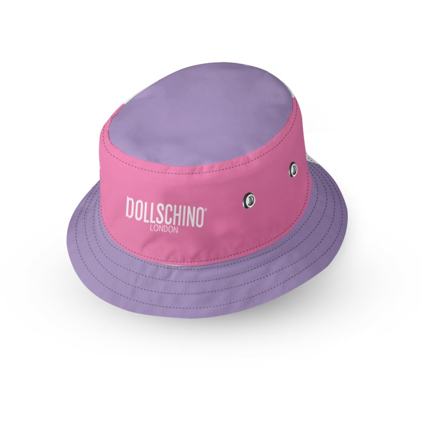 Dollschino London Purple  & Bubblegum Pink Kids Reversible Bucket Hat