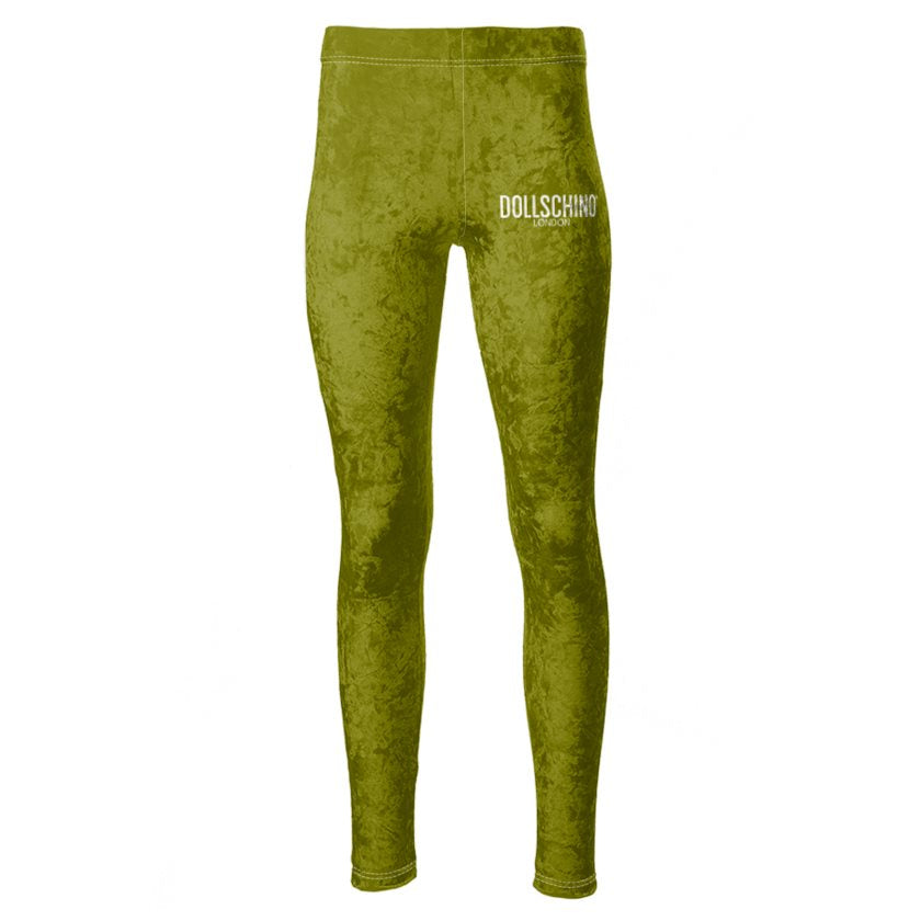 Dollschino London Khaki Green Velour Leggings