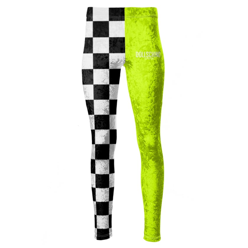 Dollschino London Fluorescent Neon Yellow & Black N White Checkered Velour Leggings