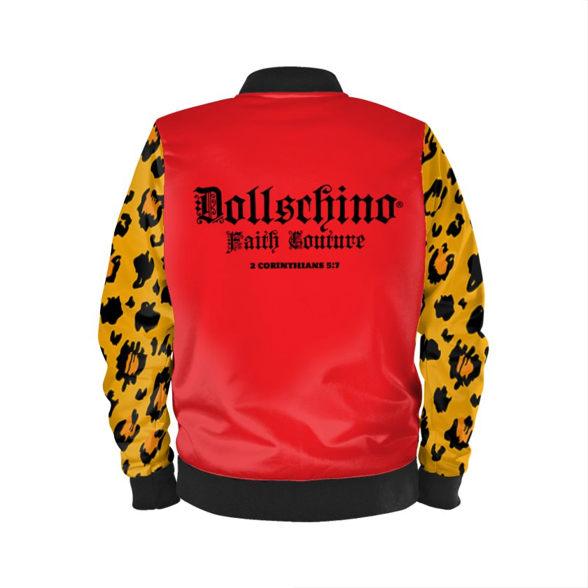 Dollschino London Faith Couture Red & Leopard Bomber Jacket