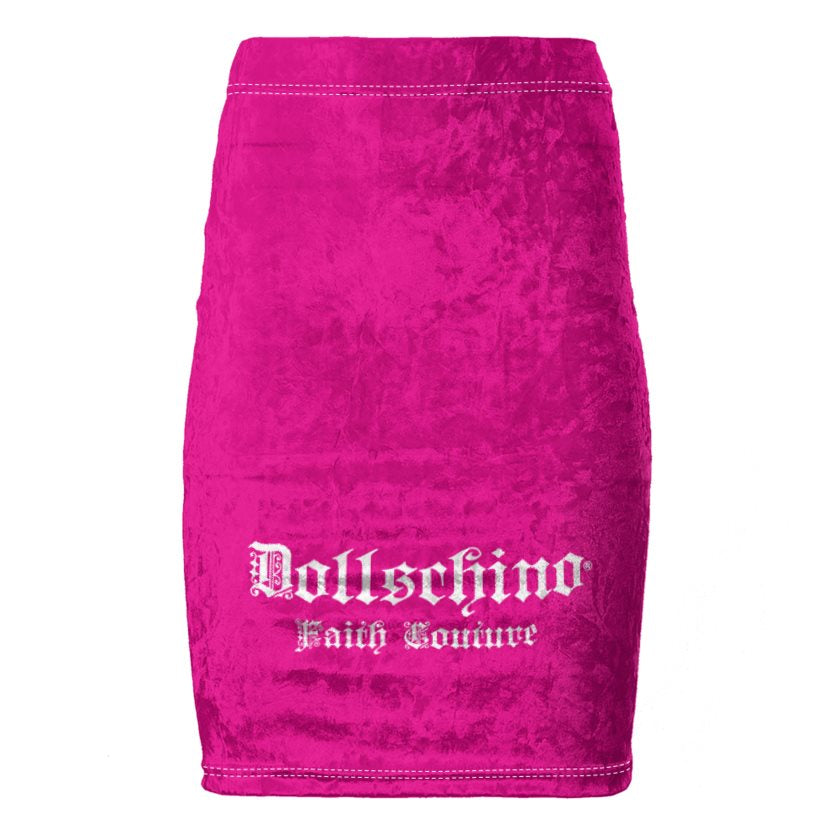 Dollschino Faith Couture Hot Pink Velour Pencil Skirt