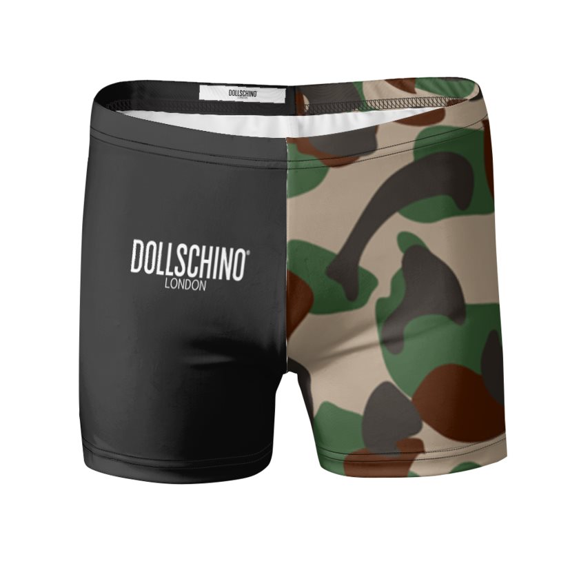 Men's Camo & Black Swimming Trunks