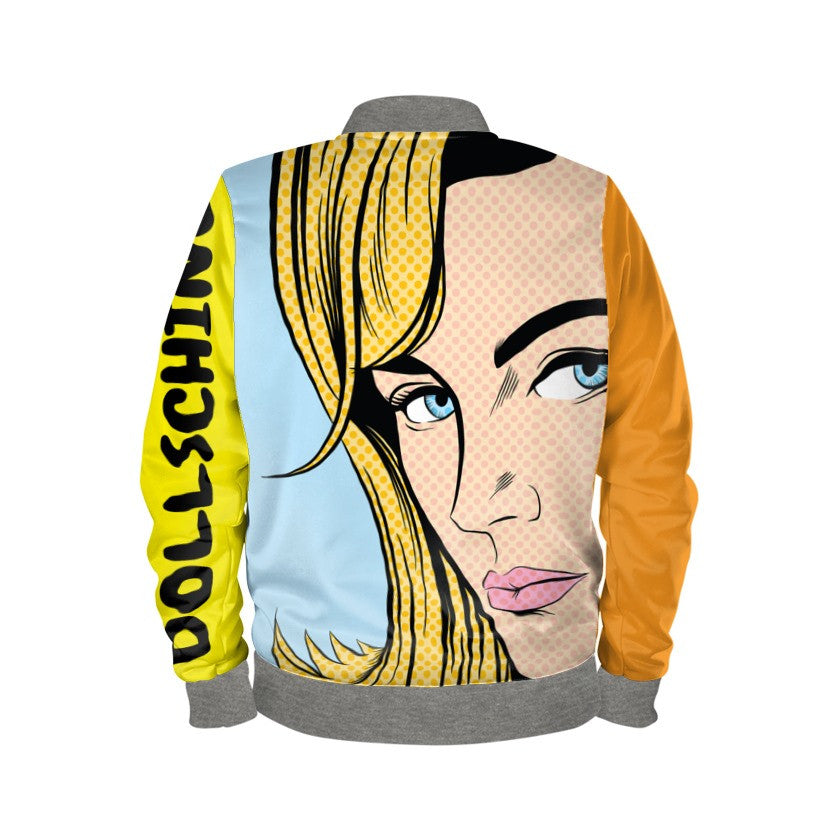 Multi Coloured Jaffa Orange Pop Art Bomber Jacket