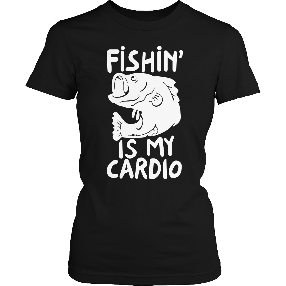 Fishing Is My Cardio Ladies Tshirt Black