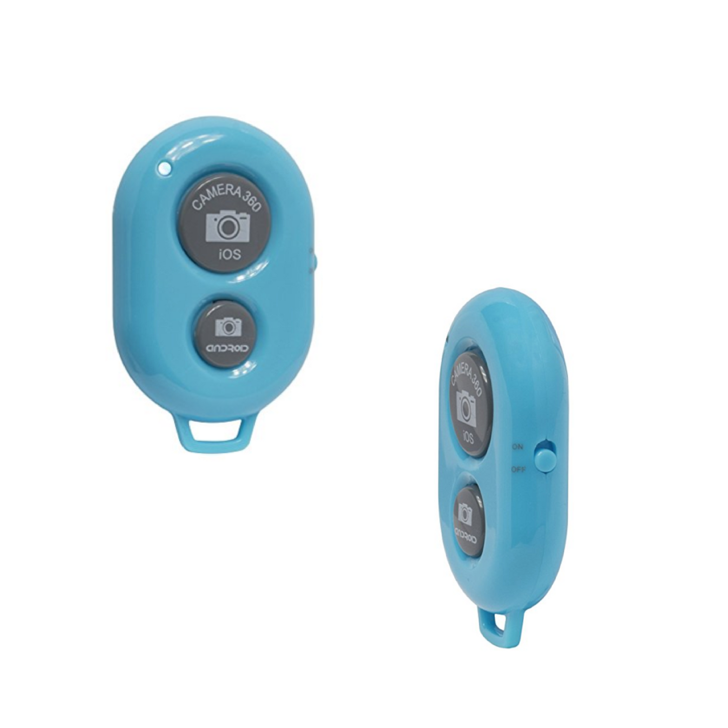 Blue Bluetooth Remote Shutter Clicker front and side view