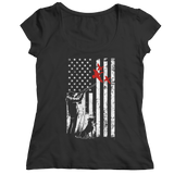 Duck Hunter and American Flag - Ladies T-Shirt
