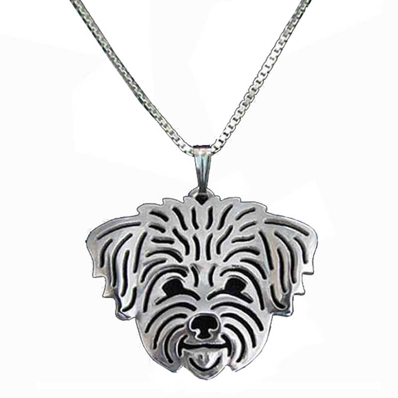 Maltese Dog Pendant Necklaces Charm - Silver