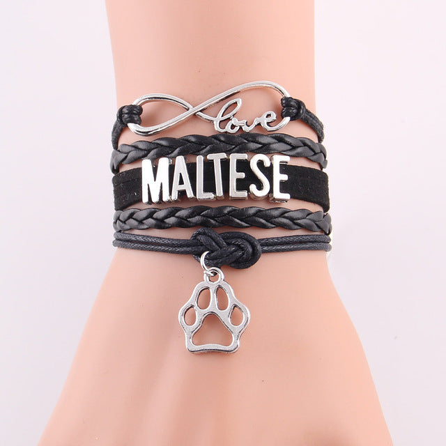 Maltese With Paw Charm Leather Bracelets - Black