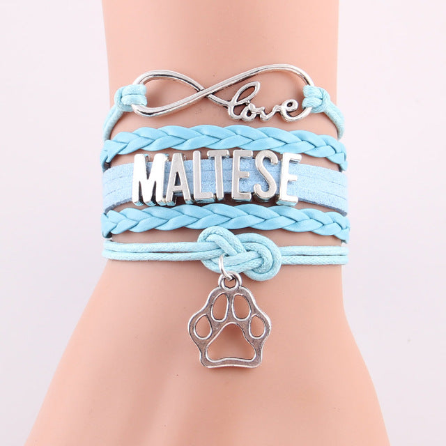 Maltese With Paw Charm Leather Bracelets - Light Blue